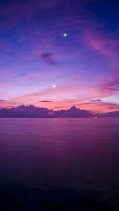Purple Sunset,Ocean, Horizon, Landscape   iPhone Backgrounds