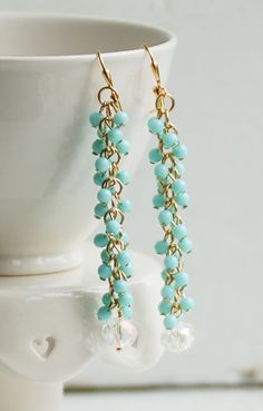 Fringe Chain EARRINGS Light Blue Beaded Crystal