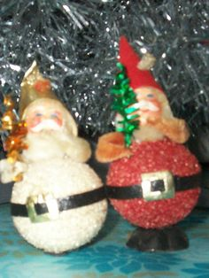 Pair of German Santa Claus Figures by thetrendykitchen on Etsy, $4.00
