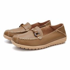 bf3ed976f5216d Metal Slip On Round Toe Flat Loafers Cheap Womens Shoes