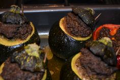 Spicy mince stuffed courgettes