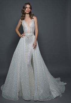 stunning glitter wedding dress ideas - detachable sparkle overskirt kleinfeld bridal Glitter Wedding Dresses - Every year, wedding dress trends change. In you will find a variety of choices ranging from classic, boho, clean-cut t. Klienfeld Wedding Dresses, Fairy Wedding Dress, Fit And Flare Wedding Dress, Classic Wedding Dress, Princess Wedding Dresses, Bridal Gowns, Mermaid Wedding, Pnina Tornai, Detachable Wedding Dress