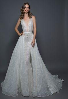 Detachable Sparkle Overskirt on Kleinfeld Bridal | Detachable glitter embossed ball gown skirt. Price shown is for over-skirt.