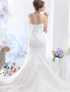 ❀ Mermaid Beading Strapless Lace Wedding Dresses | Riccol ❤