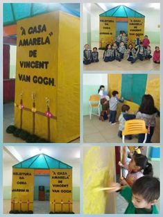 "Releitura de Obra ""A Casa Amarela"" de Vincent Van Gogh Vincent Van Gogh, Reggio Emilia, Preschool Activities, Professor, Arts And Crafts, Teacher, Vans, Baseball Cards, Education"