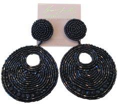 Kenneth Jay Lane Black Seed Bead Gypsy Beaded Drop Pierced Earrings | eBay