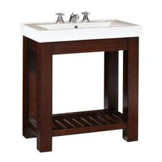 Home Decorators Collection Lexi 31.5 in. W x 18 in. D Vanity in Dark Oak with Vitreous China Vanity Top in White  $379