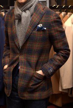 Plaid Wool Jacket, and Herringbone Cashmere Scarf. Men's Fall Winter Fashion.