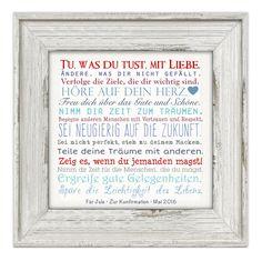 """**""""Manifest"""" • Leinwandbild mit Widmung • 25x25 cm** Ein hübsches Geschenk, z.B. zur Kommunion/Konfirmation/Firmung/Jugendweihe. Die untere Zeile +""""Name - Anlass - Datum""""+ wird dem..."""
