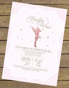 Glitter Fairy Invitation Fairy Birthday by CharlesAlexDesign Tinkerbell Invitations, Fairy Party Invitations, Tinkerbell Party, Pink Invitations, Birthday Invitations, Fairy Birthday Party, Girl Birthday Themes, Little Girl Birthday, Pink Birthday