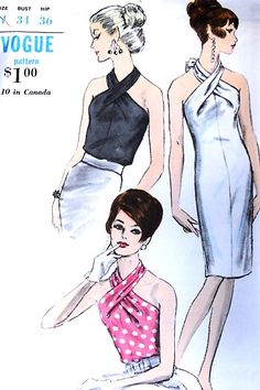 1960s STUNNING Draped Halter Neck Blouse Tops and Evening Dress Pattern VOGUE 6793