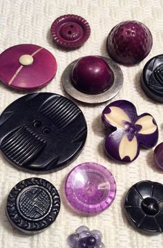 Vintage Purple Celluloid Buttons                                                                                                                                                      More