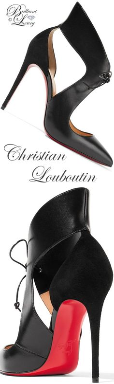 Christian Louboutin Ferme Rouge cutout leather and suede Pumps #louboutinworld