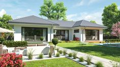 Bungalow House Plans, Bungalow House Design, Contemporary House Plans, Modern House Plans, Minimal House Design, Beautiful House Plans, Village House Design, House With Porch, Dream House Exterior