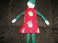 Christmas Elf doll dress red with Christmas owls by on Etsy Christmas Elf Doll, Christmas Owls, Christmas Ornaments, Dress Red, Dolls, Holiday Decor, Unique Jewelry, Handmade Gifts, Vintage