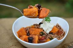 A dash of cocoa powder rounds out the flavor of this sweet potato chili that you can make in the slow cooker.
