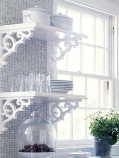 Love the open shelves & brackets. Kitchen decor.