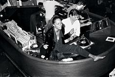Wow... Diana Ross just sitting on the dj booth at studio 54.