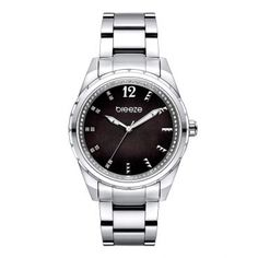 7a685ee795 Γυναικείο κομψό αδιάβροχo ρολόι BREEZE Estelle 610921.2 με καντράν από  μαύρο φίλντισι και ατσάλινο μπρασελέ