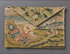 17th century, Europe - Pocketbook - Linen plain weave embroidered with polychrome silk