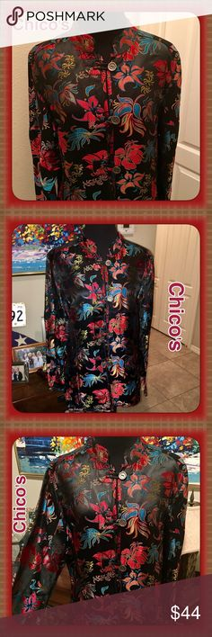 GORGEOUS Chico's Embroidered Asian Style Jacket Lg 73% Rayon 27% Silk Chico's Asian print embroidered Jacket. Beautiful colors! Unique button style-see close up pic! Like New!! Chico's size 2, which is a Large, 12/14 Chico's Jackets & Coats