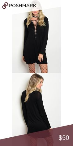🆕[aluna levi] the lace up dress • style name: the lace up dress • color: black • long sleeved jersey knit mini dress • fixed front lace up w/ grommet detail • relaxed/loose fit for a flowy look • condition: nwt, never worn ____________________________________________________ ✅ make an offer!     ✅ i bundle! ✅ posh compliant closet ⛔️ no trades 🛍 boutique item Aluna Levi Dresses Mini