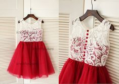 Dress introduction I am made of red tulle with ivory lace Inside sweetheart neckline with modest lace overlay Decorative buttons at the back with