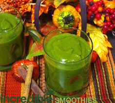 Pumpkin-Mango Green Smoothie Recipe  (Meal Replacement)  1 mango, peeled and pitted  2 cups fresh cooked and cooled pumpkin (or up to 1 cup canned pumpkin puree)  1 ounce (1/4 cup) carrot juice  3 cups baby spinach (or other leafy green)  1 teaspoon ground cinnamon  1/4 teaspoon nutmeg  6 ounce of water