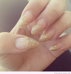 Golden glitter Christmas nails