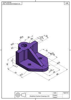 Geoputete Autocad Isometric Drawing, Isometric Drawing Exercises, Mechanical Engineering Design, Mechanical Design, Orthographic Drawing, Solidworks Tutorial, Interesting Drawings, 3d Cnc, Geometric Drawing