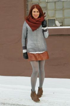 infinity, scarf, leather, skirt, silver, sweater, rock and republic