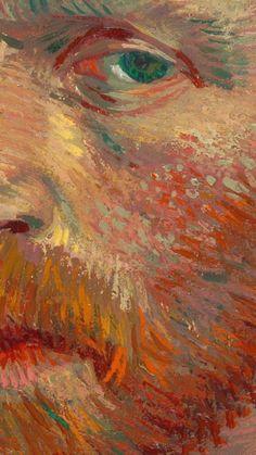 """Détail de l'""""Autoportrait"""" 1887 de Detail of the """"Self-Portrait"""" 1887 of Van Gogh Affiche – Fresque – Peinture Van Gogh Wallpaper, Painting Wallpaper, Painting Art, Wallpaper Desktop, Wallpaper Backgrounds, Painting Process, Pour Painting, Iphone Wallpapers, Artistic Wallpaper"""