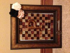 My Craft Night Project. Hot glue tile to picture frame glass and then add accessories. Easy peasy.