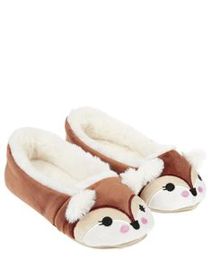 03d084e9a8 Our Francesca Fox ballerina slippers are as sweet as they are snug.  Embroidered with charming faces to the toes and topped with cute ears, this  fabulously ...