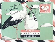 New baby congratulations card with stork, looks like vintage postcard // baby shower card / gender neutral baby card