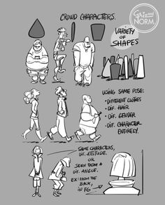Tuesday Tips- Crowd Characters — When I need to fill a crowd with characters, I usually try to pick a few simple shapes and use those to build a series a characters to complete the scene. I may switch it up by adding a hat, glasses, switching gender,...