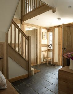 entrance hallway, large oak front door and oak staircase. i would add glass roof/skylight above staircase to flood it with light House Design, House, Border Oak, Oak Frame House, Building A House, House Styles, House Inspiration, New Homes, Cottage Interiors