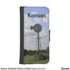 Kansas Windmill I Phone 5 Wallet Case iPhone 5 Wallet