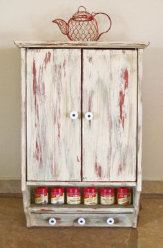Shabby Chic Wall Hanging Cabinet Hand Painted by olliesfinethings, $79.00