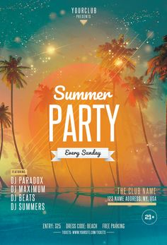 Download Beach Party PSD Flyer Template for free. This summer flyer is editable and suitable for any type of beach party, sunset event, dj, tropical music and other. Event Poster Design, Typography Poster Design, Creative Poster Design, Creative Posters, Flyer Design, Free Psd Flyer Templates, Flyer Free, Banner Aniversario, Comunity Manager