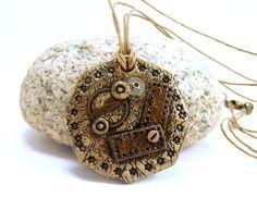 Polymer Clay Jewelry Pendant Necklace - Steampunk Pendant - Boho Necklace - Rustic Necklace - Artisan Handmade - Geometric Jewelry - by BobblesByCarol on Etsy