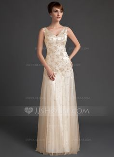 A-Line/Princess V-neck Floor-Length Beading Sequins Zipper Up Regular Straps Sleeveless No Other Colors Spring Summer General Plus Tulle Mother of the Bride Dress