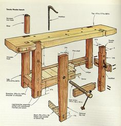 Design of the Century Roubo Workbench Sees Modern-Day Reincarnation - Woodworking Bench Plans Woodworking Bench Plans, Woodworking Projects For Kids, Workbench Plans, Woodworking Crafts, Woodworking Tools, Wood Projects, Woodworking Furniture, Folding Workbench, Garage Workbench