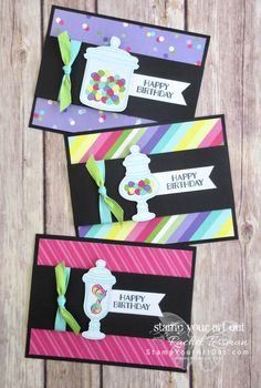 Sweet Celebration Strip Fold Card - Stamp Your Art Out! Fun Fold Cards, Cool Cards, Folded Cards, Handmade Birthday Cards, Greeting Cards Handmade, Birthday Crafts, First Birthday Parties, First Birthdays, Jars Of Sweets