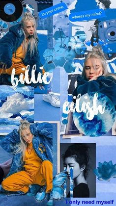 Aesthetic Pastel Wallpaper, Cute Wallpaper Backgrounds, Blue Wallpapers, Pretty Wallpapers, Aesthetic Wallpapers, Billie Eilish, Collage Background, Photo Wall Collage, Aesthetic Collage