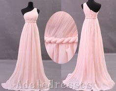 Elegant One Shoulder Pink Chiffon Long Prom Dress,A Line Empire Waist Prom Dress Gown,Ruffles Custom Made Graduation Dress,Bridesmaid Dress by Adeledresses