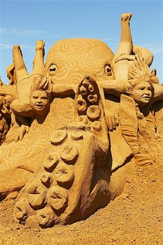 A sand sculpture titled ''Octopus Garden,'' carved by Joris Kivits, at the Under the Sea sand sculpture exhibition at the Frankston waterfront in Melbourne, Australia.