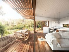 like the Indoor / outdoor design, awning, and decking.