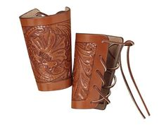 leather cuffs | Hunter 1085 Cowboy Wrist Cuffs Tooled Leather Brown Pair