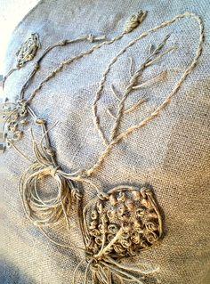 embroidery with twine... on burlap...?  avo mari